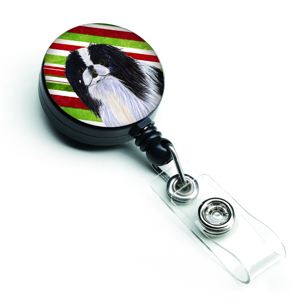 Japanese Chin Candy Cane Holiday Christmas Retractable Badge Reel SS4536BR by Caroline's Treasures