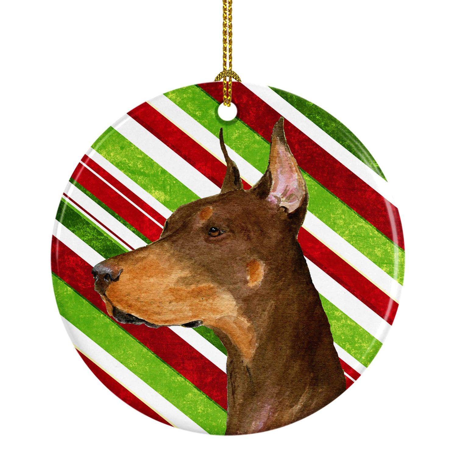 Doberman Candy Cane Holiday Christmas Ceramic Ornament SS4537 by Caroline's Treasures