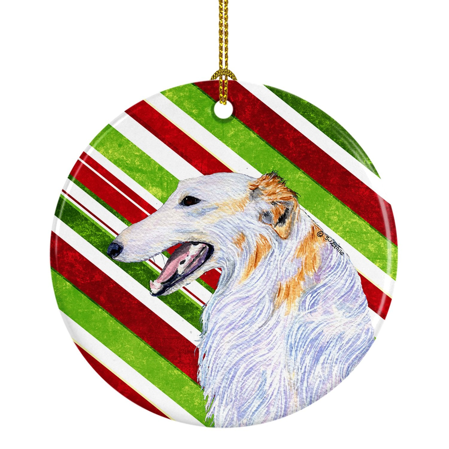 Borzoi Candy Cane Holiday Christmas Ceramic Ornament SS4544 by Caroline's Treasures
