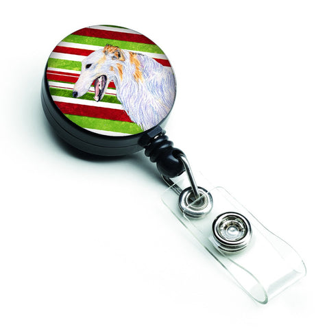 Buy this Borzoi Candy Cane Holiday Christmas Retractable Badge Reel SS4544BR