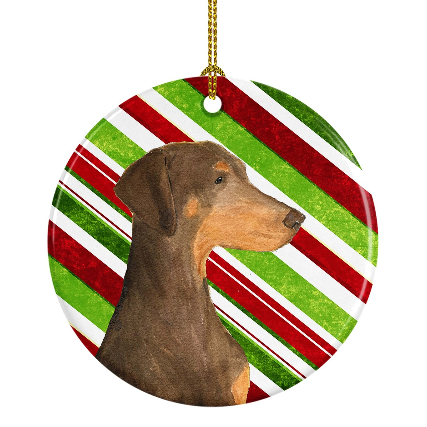Doberman Candy Cane Holiday Christmas Ceramic Ornament SS4548 by Caroline's Treasures