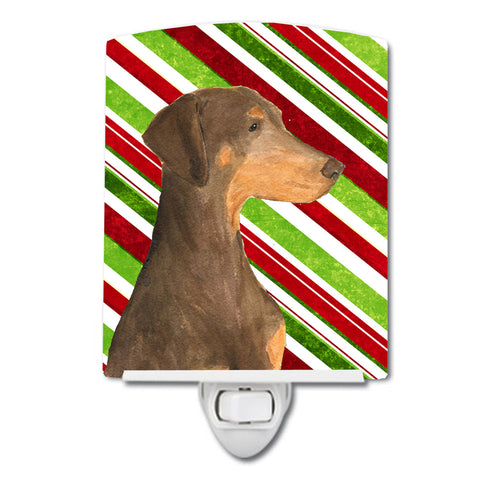 Buy this Doberman Candy Cane Holiday Christmas Ceramic Night Light SS4548CNL