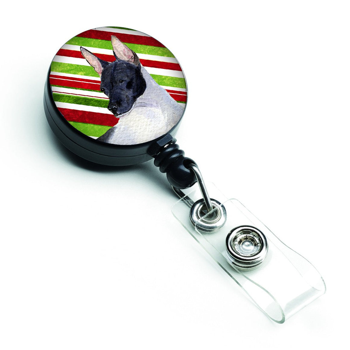 Buy this Rat Terrier Candy Cane Holiday Christmas Retractable Badge Reel SS4549BR