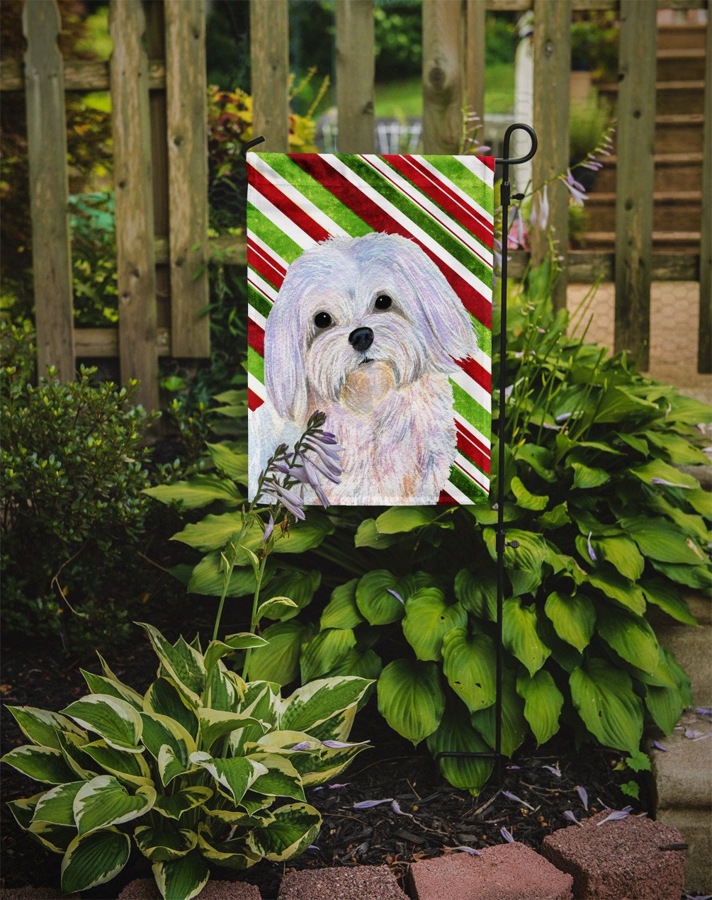 Maltese Candy Cane Holiday Christmas Flag Garden Size - the-store.com