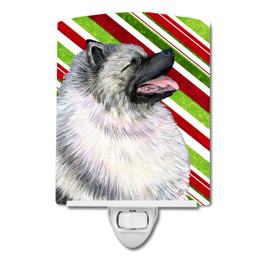 Buy this Keeshond Candy Cane Holiday Christmas Ceramic Night Light SS4557CNL
