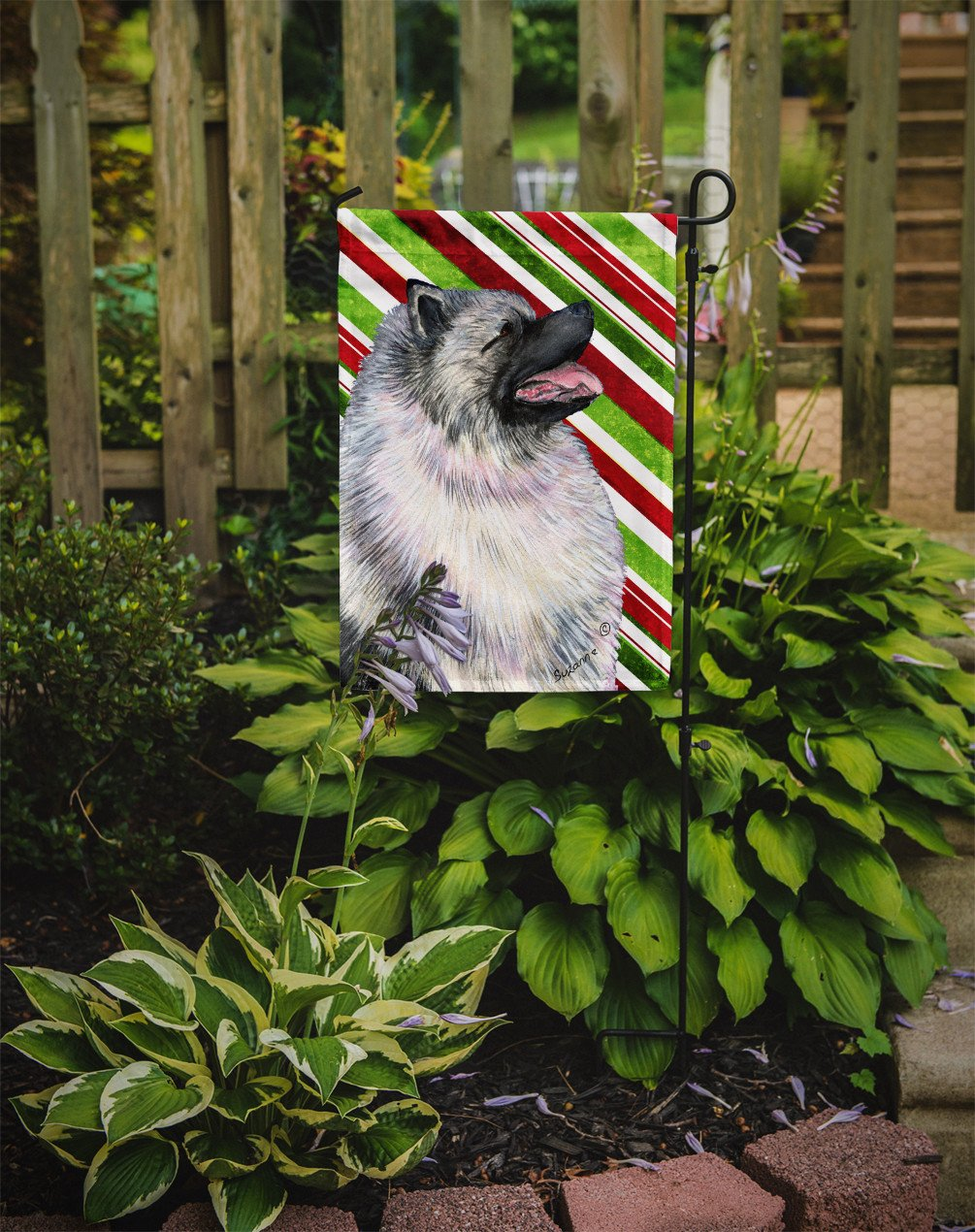 Keeshond Candy Cane Holiday Christmas Flag Garden Size by Caroline's Treasures
