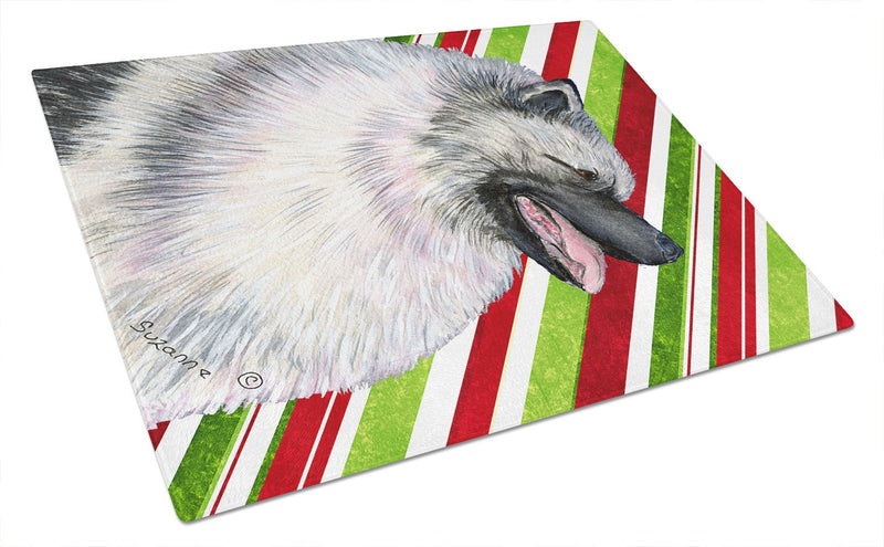 Keeshond Candy Cane Holiday Christmas Glass Cutting Board Large by Caroline's Treasures