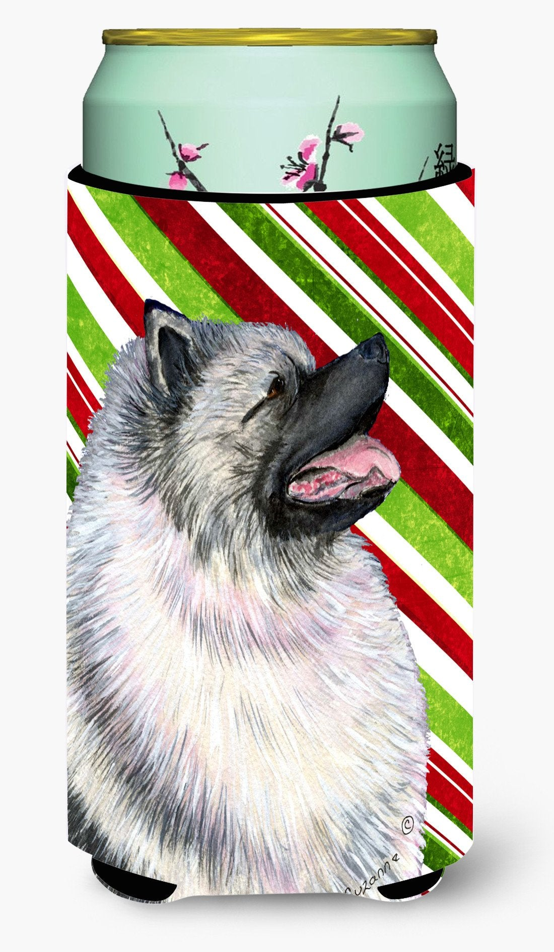 Keeshond Candy Cane Holiday Christmas  Tall Boy Beverage Insulator Beverage Insulator Hugger by Caroline's Treasures