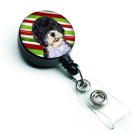 Buy this Portuguese Water Dog Candy Cane Holiday Christmas Retractable Badge Reel SS4559BR