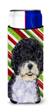 Portuguese Water Dog Candy Cane Holiday Christmas Ultra Beverage Insulators for slim cans SS4559MUK by Caroline's Treasures