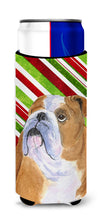 Bulldog English Candy Cane Holiday Christmas Ultra Beverage Insulators for slim cans SS4560MUK by Caroline's Treasures