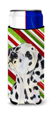 Dalmatian Candy Cane Holiday Christmas Ultra Beverage Insulators for slim cans SS4561MUK by Caroline's Treasures