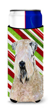 Wheaten Terrier Soft Coated Candy Cane Holiday Christmas Ultra Beverage Insulators for slim cans SS4562MUK by Caroline's Treasures