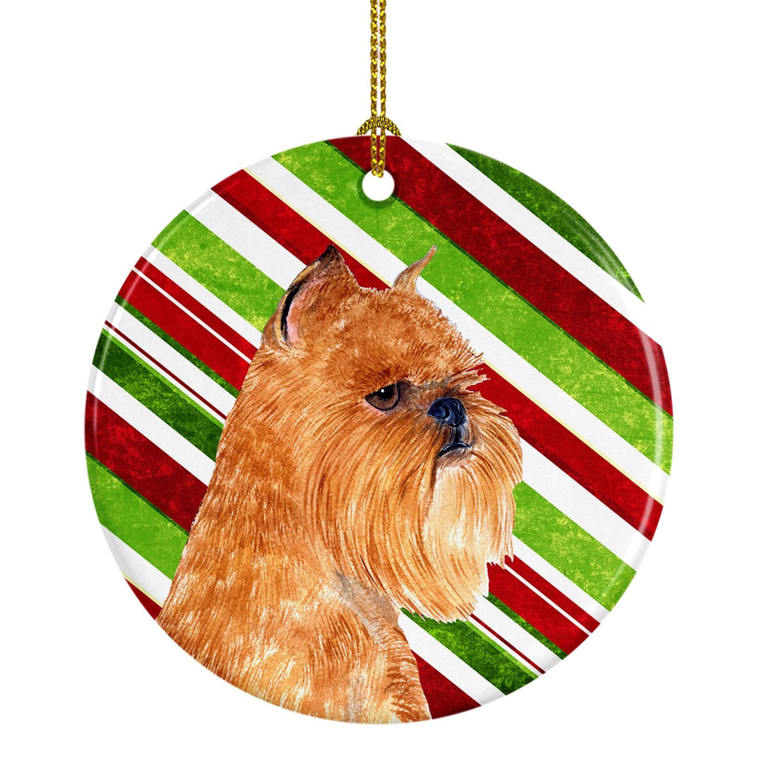 Brussels Griffon Candy Cane Holiday Christmas Ceramic Ornament SS4563 by Caroline's Treasures