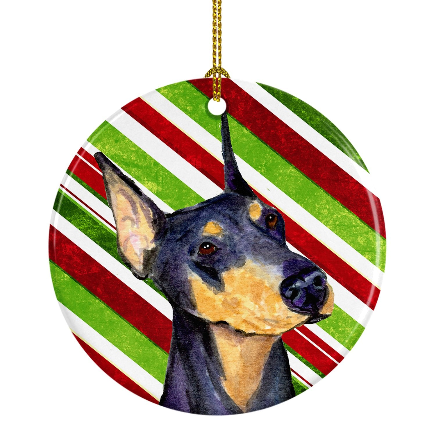 Doberman Candy Cane Holiday Christmas Ceramic Ornament SS4564 by Caroline's Treasures