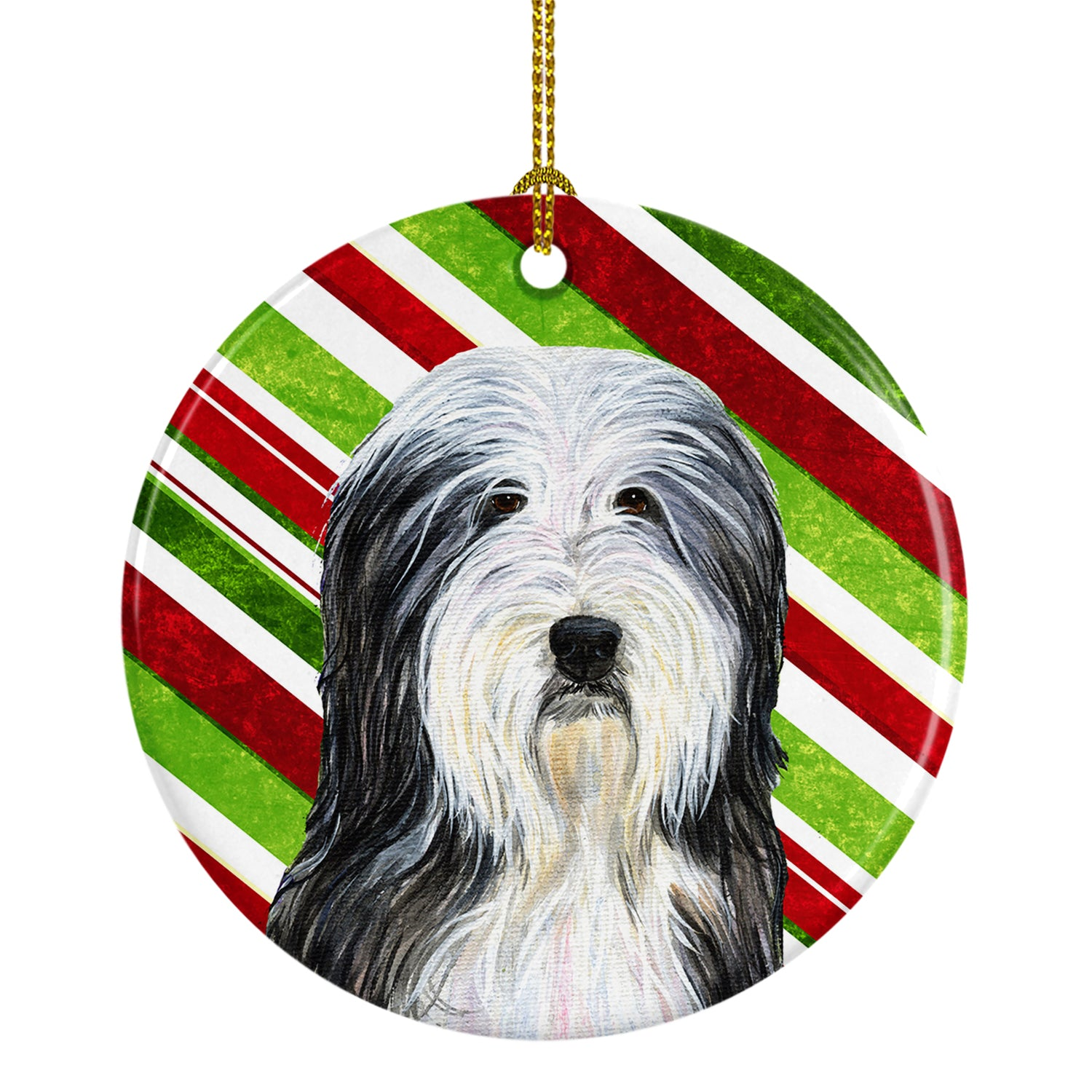 Bearded Collie Candy Cane Holiday Christmas Ceramic Ornament SS4566 by Caroline's Treasures