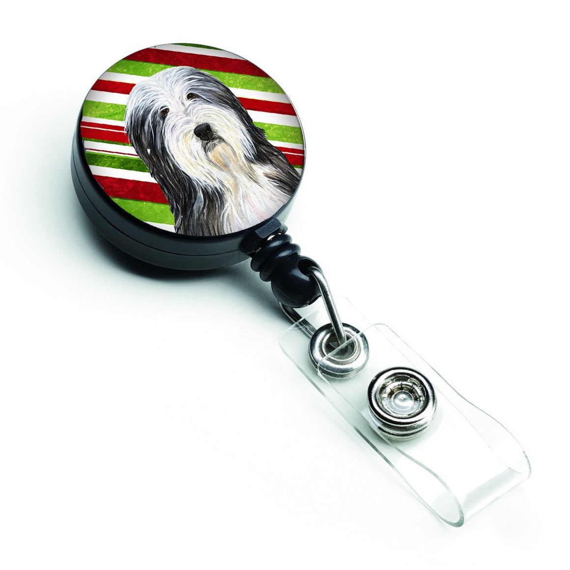 Buy this Bearded Collie Candy Cane Holiday Christmas Retractable Badge Reel SS4566BR