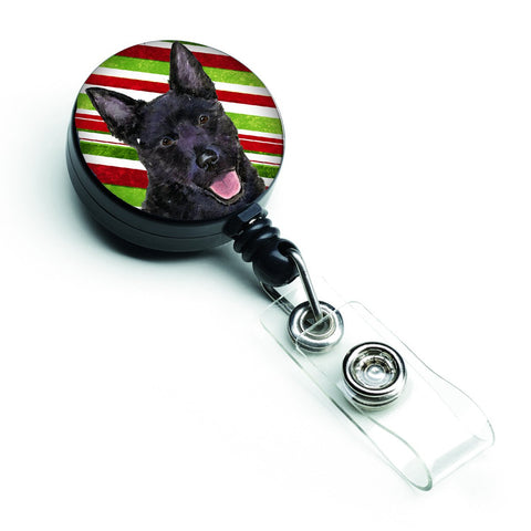 Buy this Australian Kelpie Candy Cane Holiday Christmas Retractable Badge Reel SS4567BR