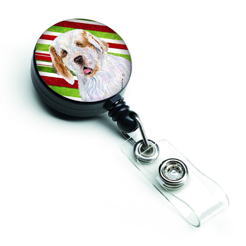 Buy this Clumber Spaniel Candy Cane Holiday Christmas Retractable Badge Reel SS4569BR