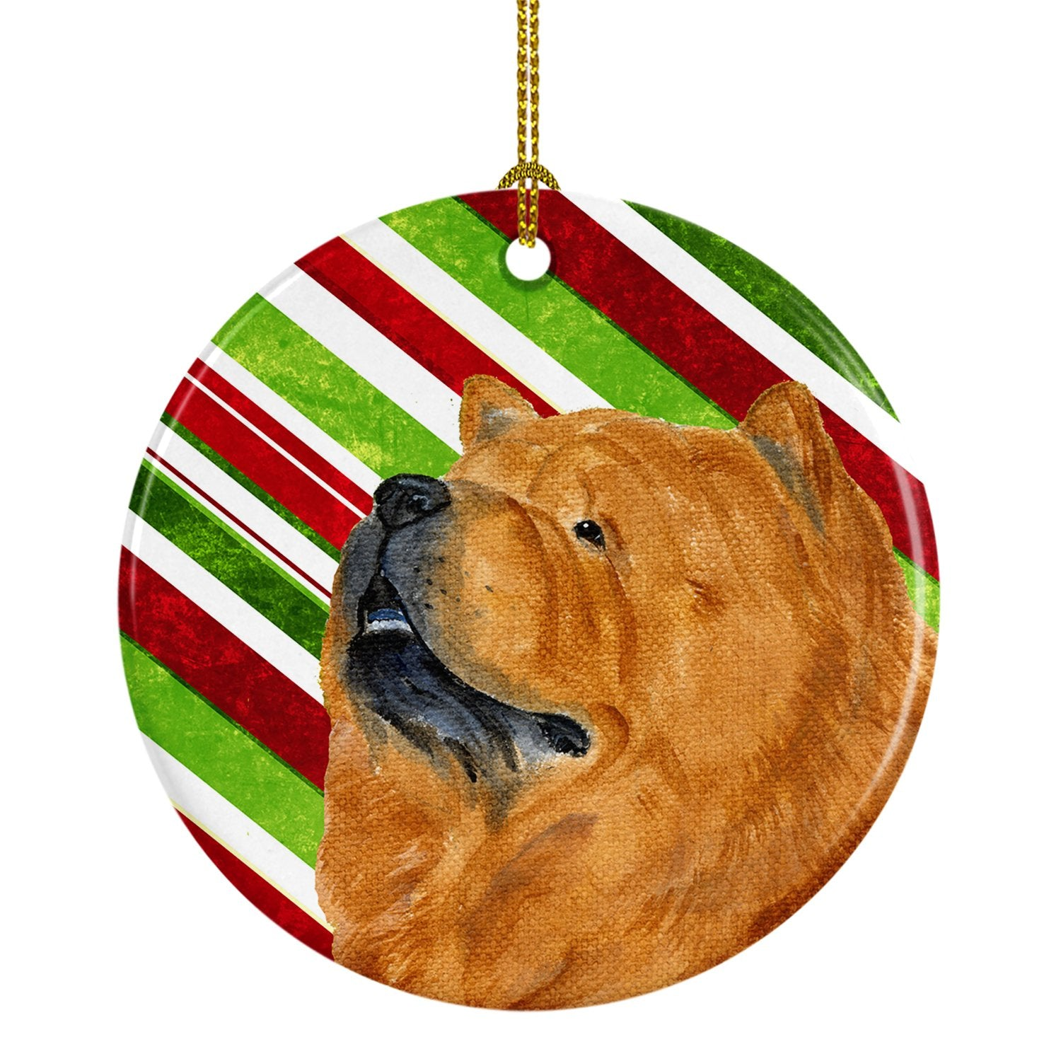 Chow Chow Candy Cane Holiday Christmas Ceramic Ornament SS4571 by Caroline's Treasures