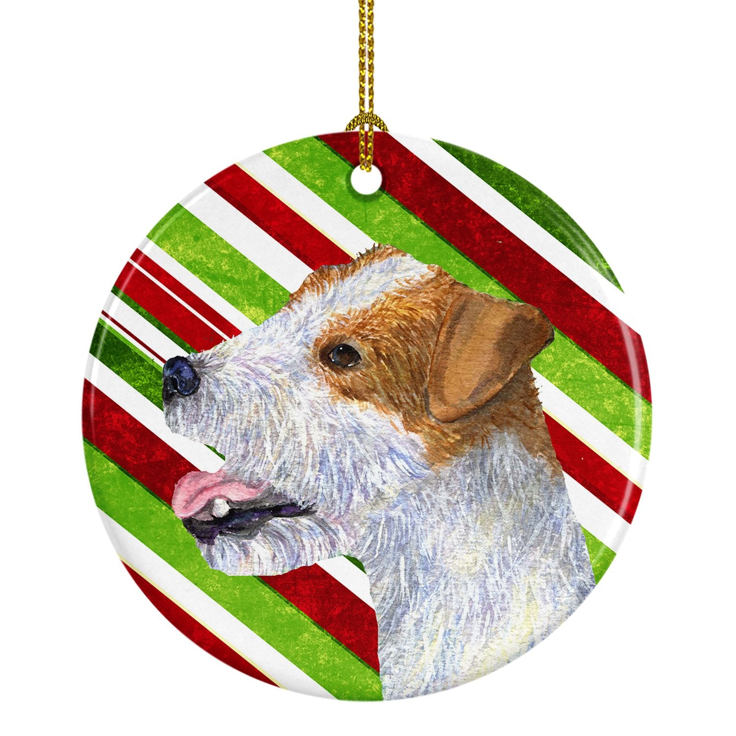 Jack Russell Terrier Candy Cane Holiday Christmas Ceramic Ornament SS4573 by Caroline's Treasures