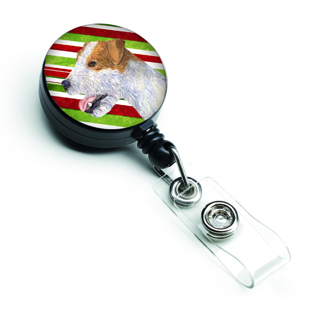 Jack Russell Terrier Candy Cane Holiday Christmas Retractable Badge Reel SS4573BR by Caroline's Treasures