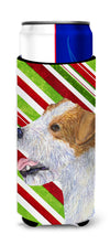 Jack Russell Terrier Candy Cane Holiday Christmas Ultra Beverage Insulators for slim cans SS4573MUK by Caroline's Treasures