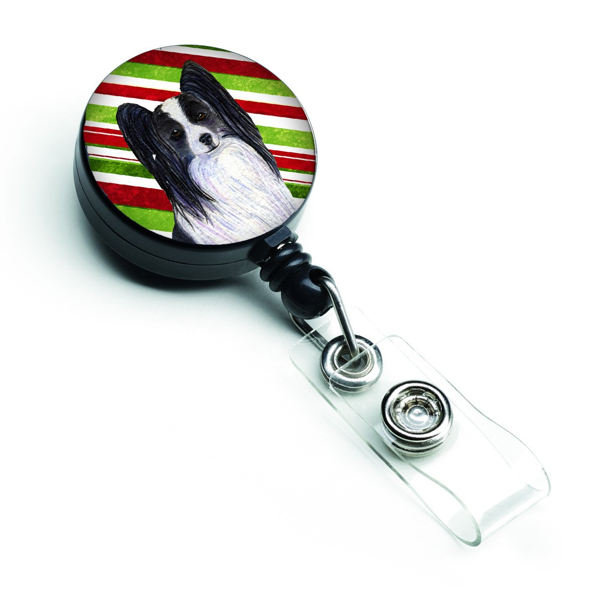 Papillon Candy Cane Holiday Christmas Retractable Badge Reel SS4574BR by Caroline's Treasures