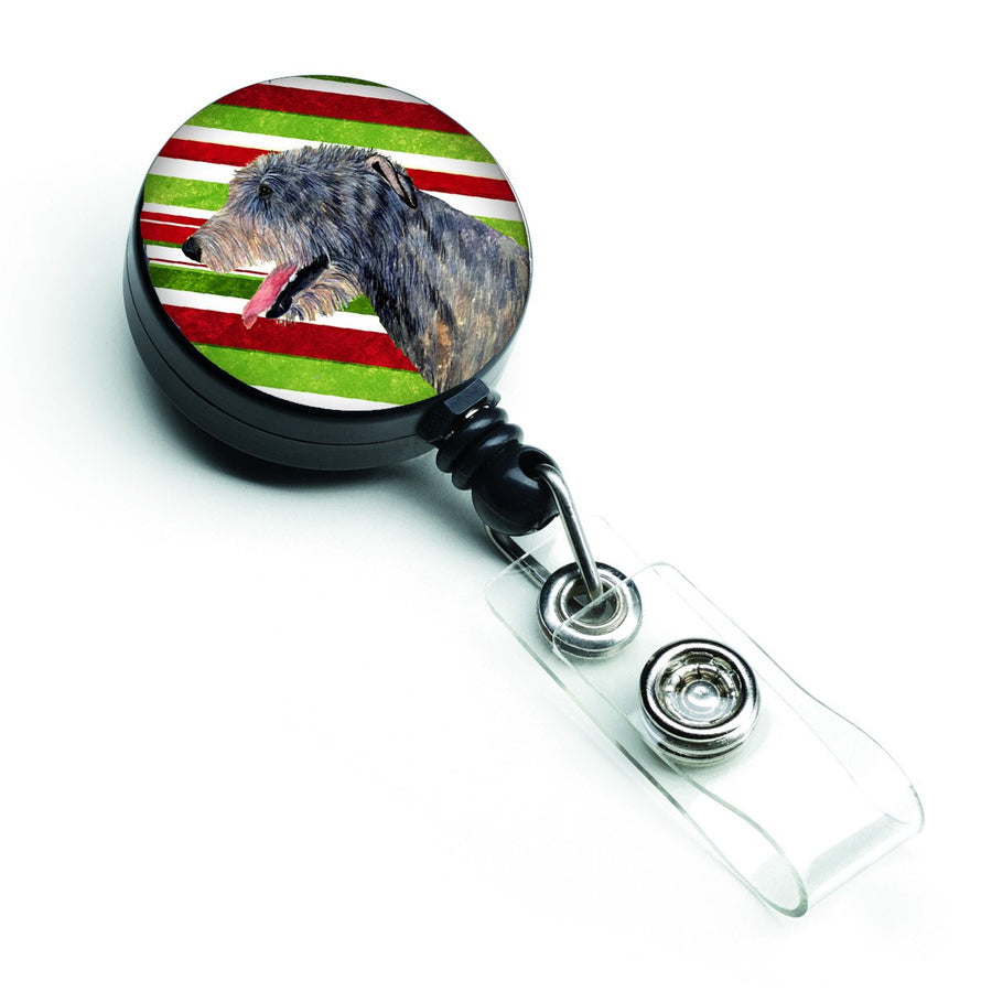 Buy this Irish Wolfhound Candy Cane Holiday Christmas Retractable Badge Reel SS4575BR