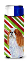 English Toy Spaniel Candy Cane Holiday Christmas Ultra Beverage Insulators for slim cans SS4576MUK by Caroline's Treasures