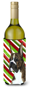 Boxer Candy Cane Holiday Christmas Wine Bottle Beverage Insulator Beverage Insulator Hugger SS4577LITERK by Caroline's Treasures