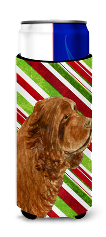 Buy this Sussex Spaniel Candy Cane Holiday Christmas Ultra Beverage Insulators for slim cans SS4579MUK