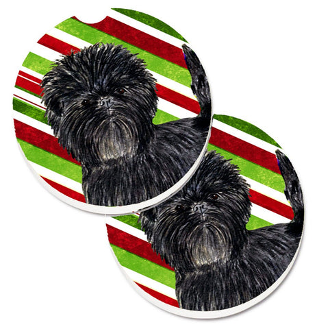 Buy this Affenpinscher Candy Cane Holiday Christmas Set of 2 Cup Holder Car Coasters SS4580CARC