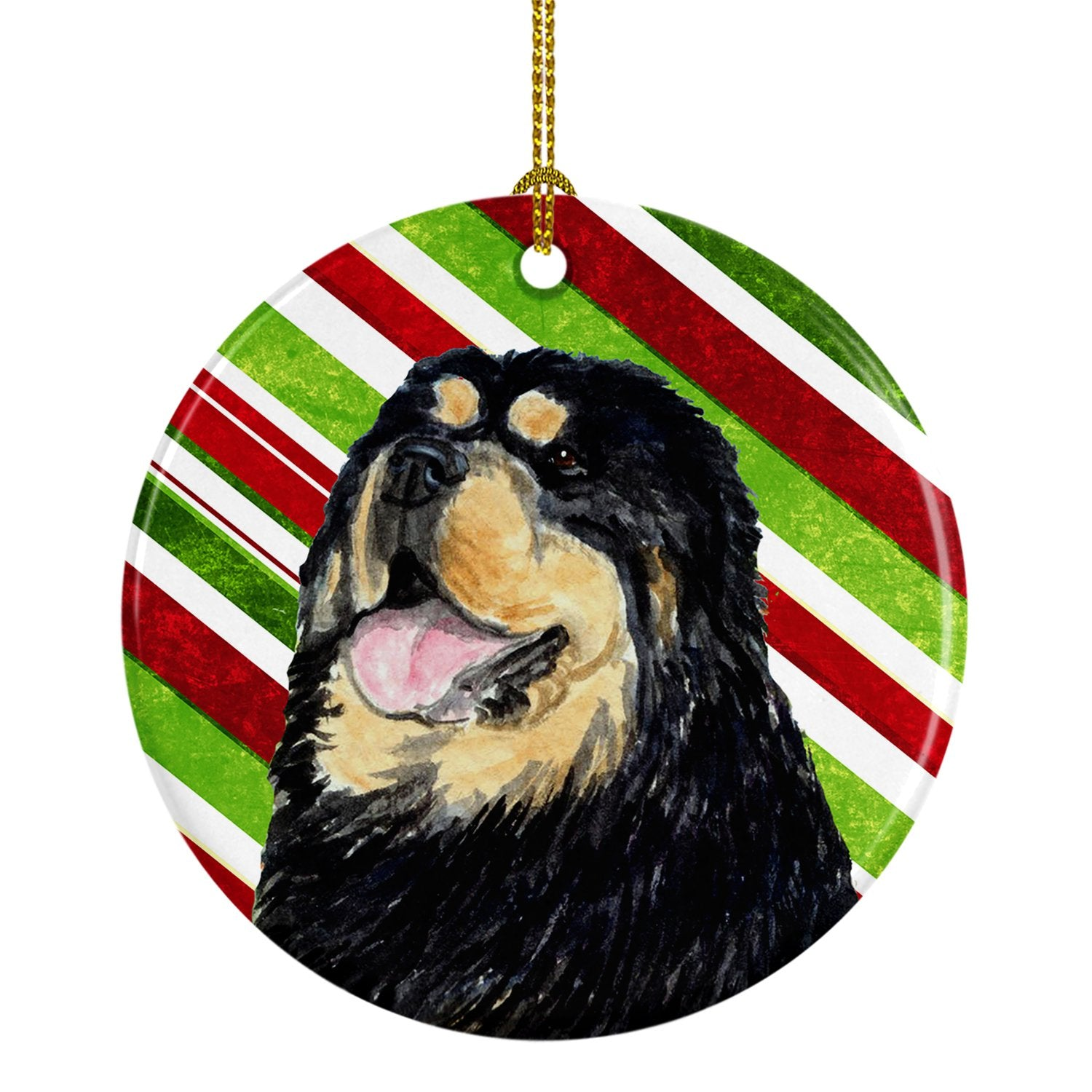 Tibetan Mastiff Candy Cane Holiday Christmas Ceramic Ornament SS4581 by Caroline's Treasures