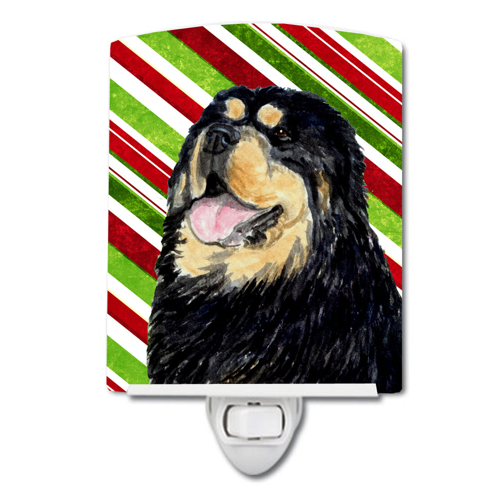 Tibetan Mastiff Candy Cane Holiday Christmas Ceramic Night Light SS4581CNL by Caroline's Treasures