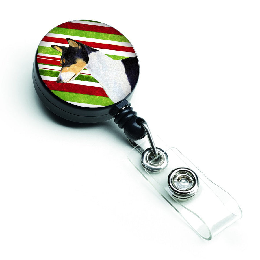 Buy this Basenji Candy Cane Holiday Christmas Retractable Badge Reel SS4583BR