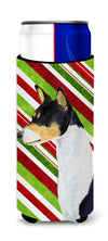 Basenji Candy Cane Holiday Christmas Ultra Beverage Insulators for slim cans SS4583MUK by Caroline's Treasures
