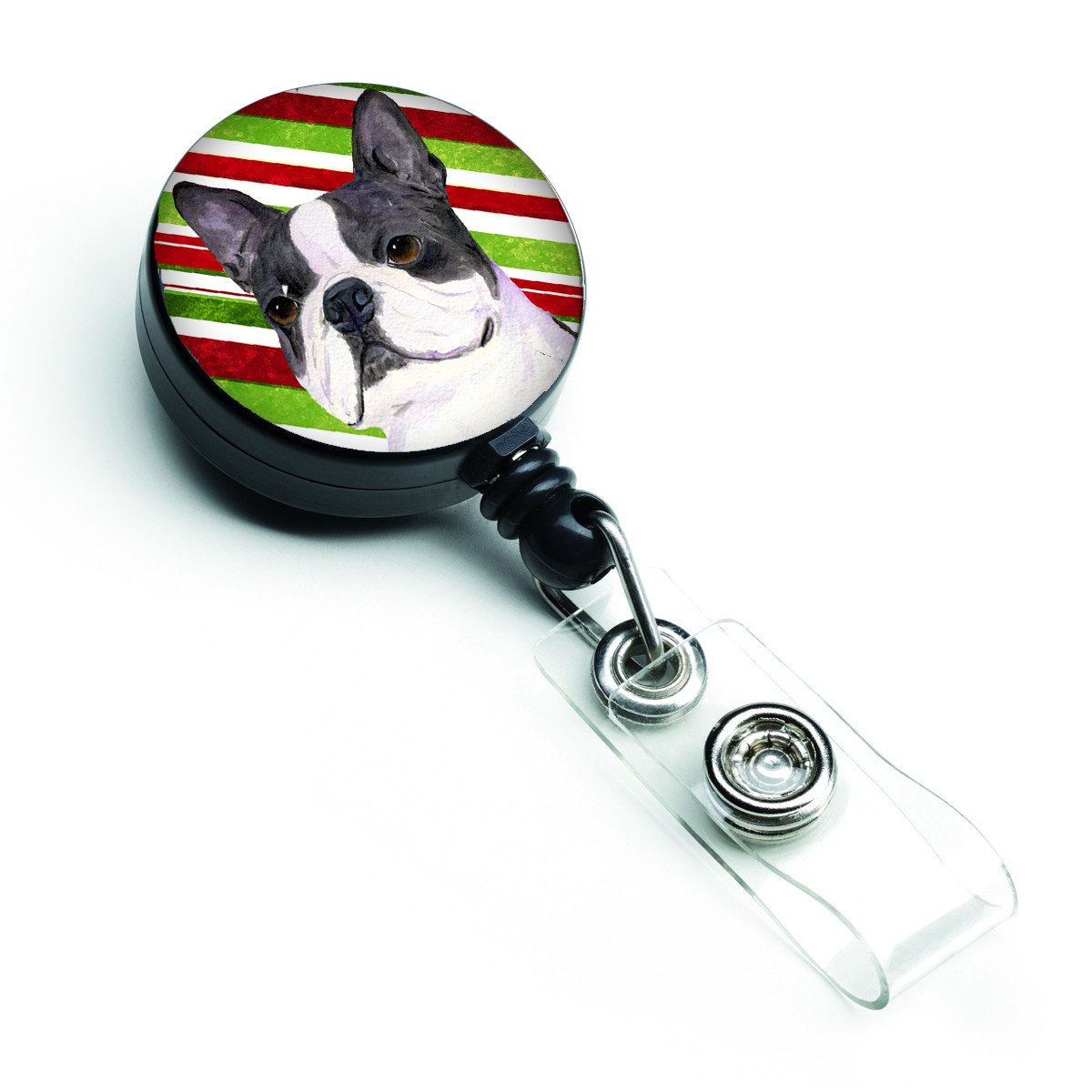 Boston Terrier Candy Cane Holiday Christmas Retractable Badge Reel SS4585BR by Caroline's Treasures