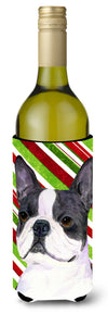 Boston Terrier Candy Cane Holiday Christmas Wine Bottle Beverage Insulator Beverage Insulator Hugger by Caroline's Treasures