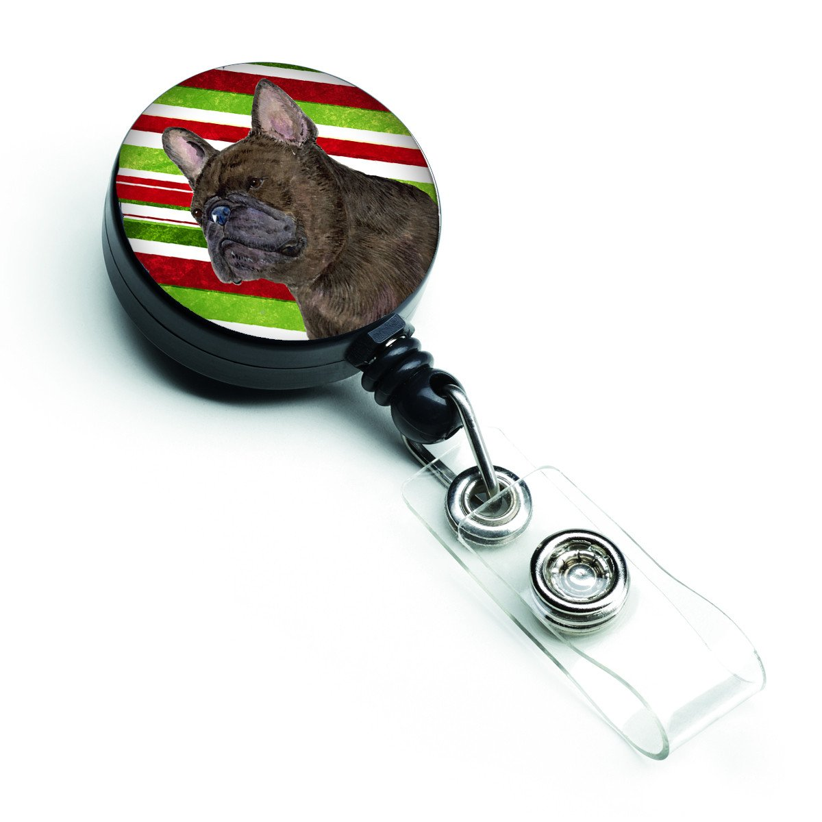 French Bulldog Candy Cane Holiday Christmas Retractable Badge Reel SS4588BR by Caroline's Treasures