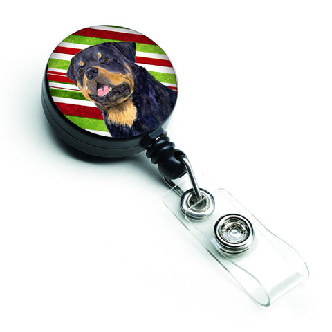 Buy this Rottweiler Candy Cane Holiday Christmas Retractable Badge Reel SS4593BR