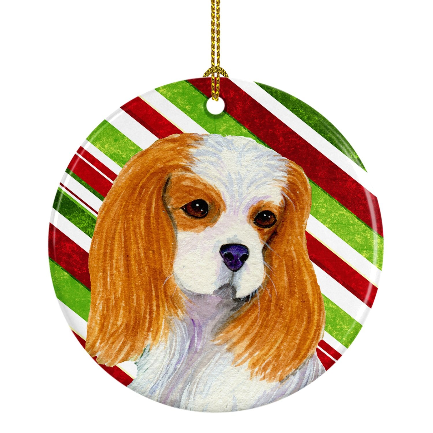 Cavalier Spaniel Candy Cane Holiday Christmas Ceramic Ornament SS4596 by Caroline's Treasures