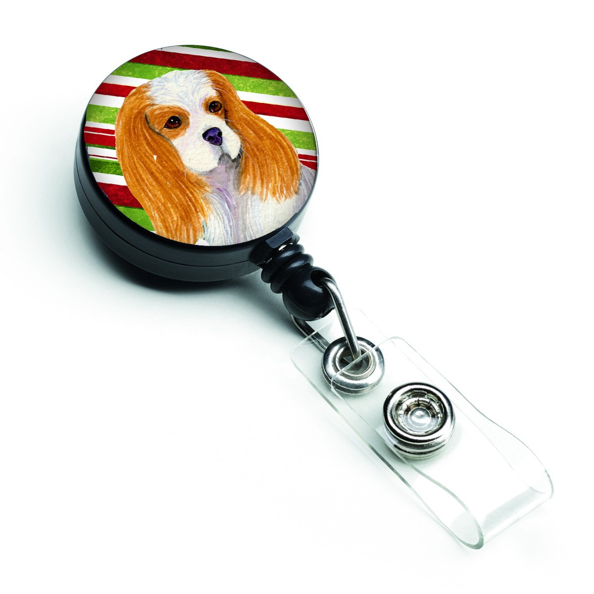 Cavalier Spaniel Candy Cane Holiday Christmas Retractable Badge Reel SS4596BR by Caroline's Treasures