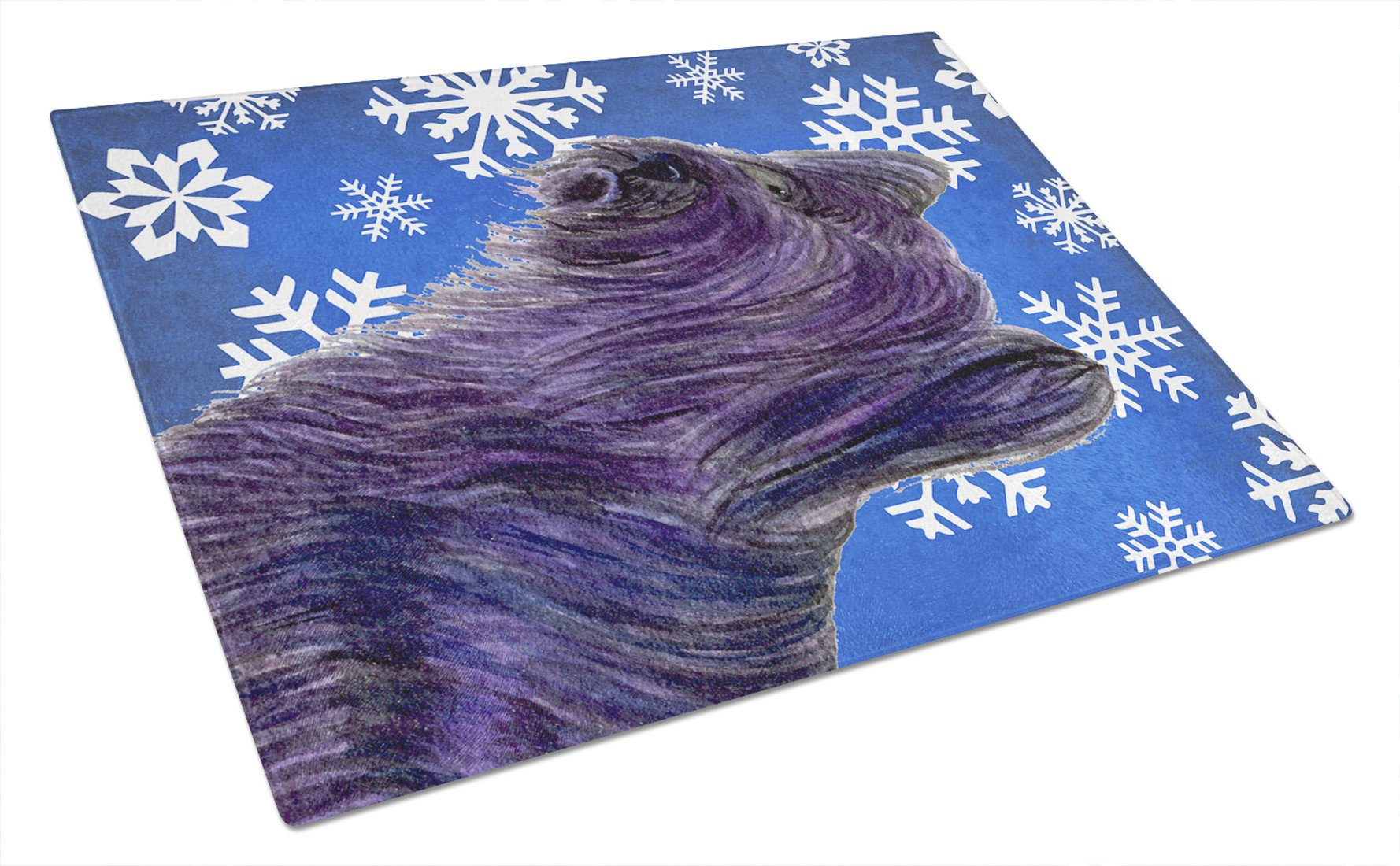 Buy this Skye Terrier Winter Snowflakes Holiday Glass Cutting Board Large