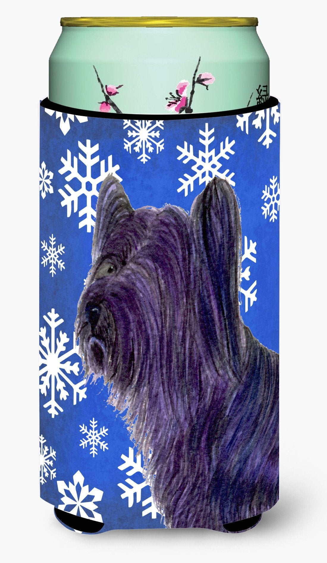 Buy this Skye Terrier Winter Snowflakes Holiday  Tall Boy Beverage Insulator Beverage Insulator Hugger