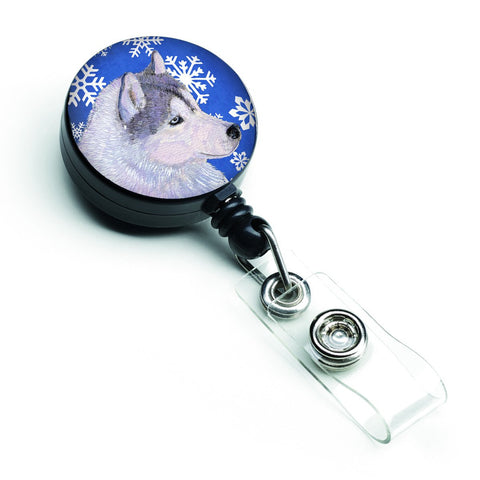 Buy this Siberian Husky Winter Snowflakes Holiday Retractable Badge Reel SS4602BR