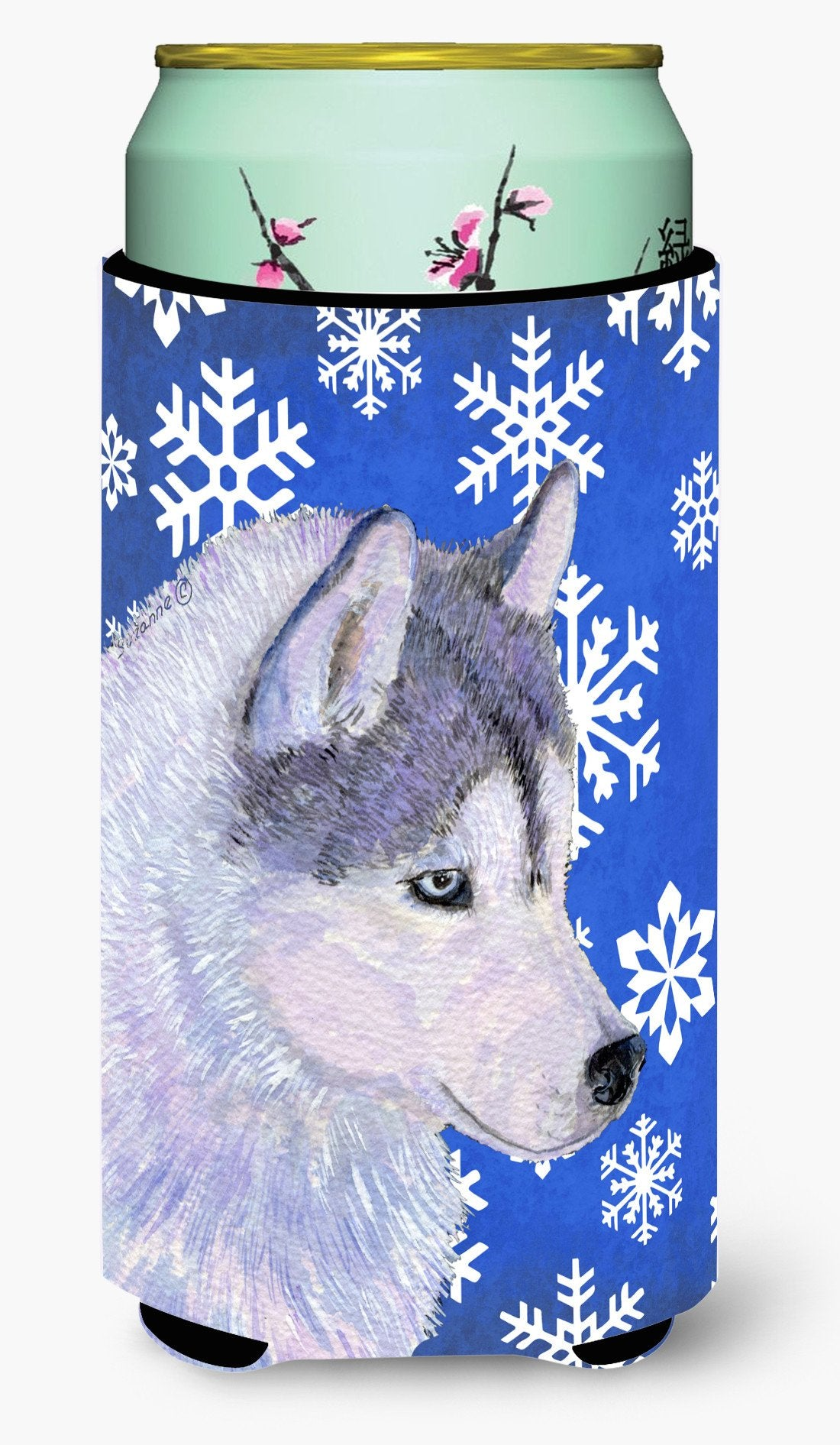 Siberian Husky Winter Snowflakes Holiday  Tall Boy Beverage Insulator Beverage Insulator Hugger by Caroline's Treasures