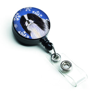 Buy this Japanese Chin Winter Snowflakes Holiday Retractable Badge Reel SS4605BR