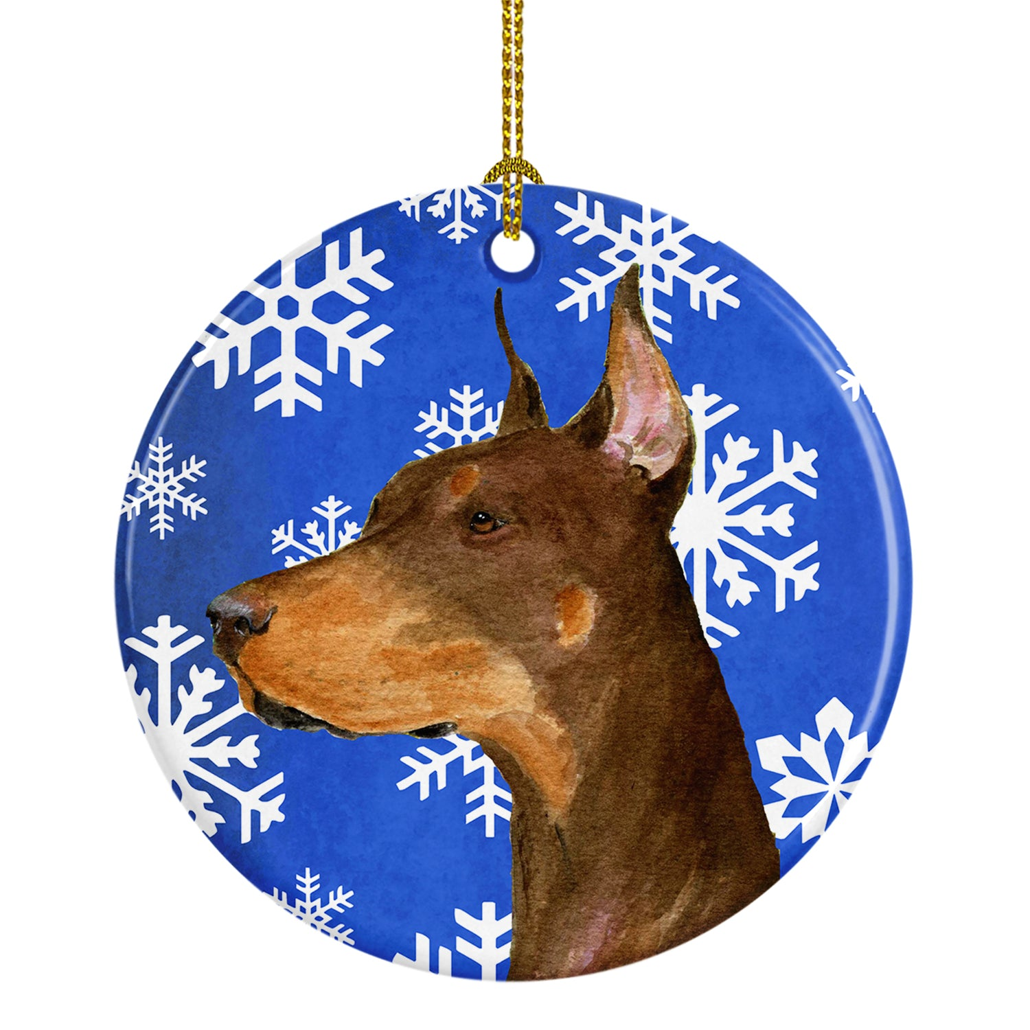 Doberman Winter Snowflakes Holiday Christmas Ceramic Ornament SS4606 by Caroline's Treasures