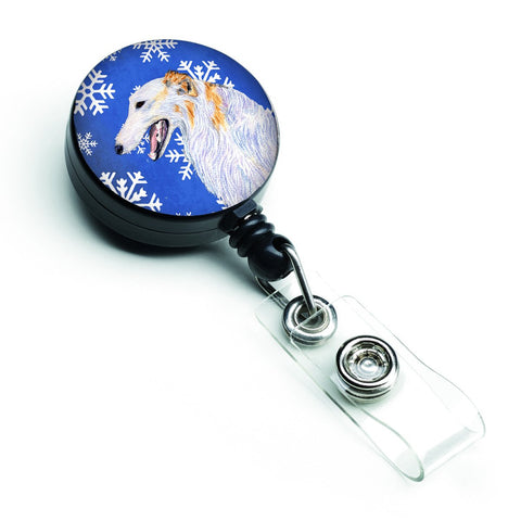 Buy this Borzoi Winter Snowflakes Holiday Retractable Badge Reel SS4613BR